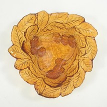 FENTON AMBER DISH Blackberry Leaf Pattern Orange Carnival Glass Collectible Bowl - $24.98