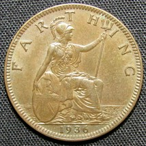 1936 Great Britain Farthing Coin - $7.84