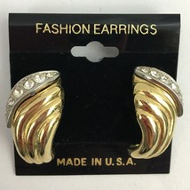 Vintage Textured Gold Tone Rhinestone Pierced Earrings NOS Gold Tone Ribbed - $7.87