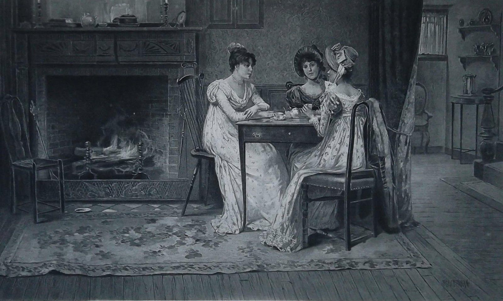 VICTORIAN LADIES Gossip at Fireplace - 1888 Photogravure Print image 1