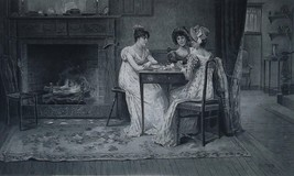 VICTORIAN LADIES Gossip at Fireplace - 1888 Photogravure Print - $19.80