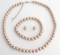 Bridesmaid Necklace Earrings Bracelet Set In Champagne Pearl Wedding Jewelry Flo - $21.00
