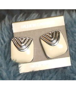 Silver and Creme Colored Post Earrings - $3.99