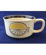 Stoneware Soup Mug With Lemon Wedge Graphic Outside And Inside Brown Yellow - $13.85