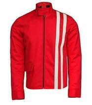 Elvis Presley Retro White Striped Speedway Steve Classic Red Cotton Jacket image 1
