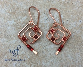 Handmade copper earrings: square spirals wire wrapped with red beads - $27.00
