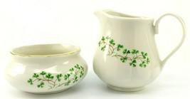 Irish Porcelain Sugar Bowl Creamer Cré Shamrocks Clover Gold Trim Galway... - $23.95