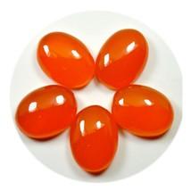 5 PCS 11X12 MM Original Carnelian Oval Orange Loose Gemstone Lot For Jew... - $24.65