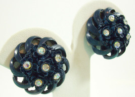 Vintage Navy Blue AB Rhinestone Flower Scalloped Edge Clip Earrings Dome... - $24.70