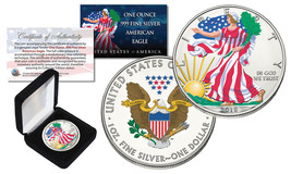 2018 1 oz Colorized 2-Sided American Silver Eagle (BU) with BOX & CERTIF... - $37.36