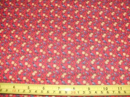 1/2 Yd Concord Quilter's Print Quilt Fabric Blue Gold Flowers on Red - $4.99
