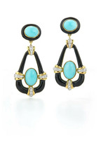 Fashion Drop Earrings for Women Gold Filled Jewelry Turquoise A Pair/set - $10.99