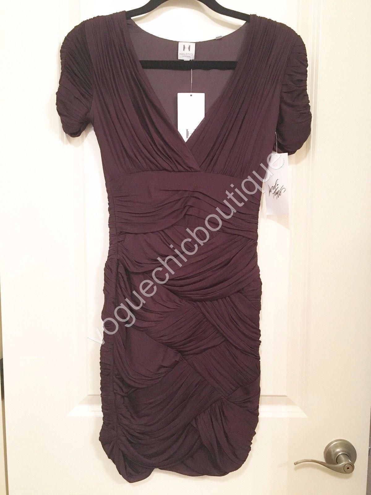 NWT Halston Heritage Ruched Jersey Mini Bodycon Dress Purple Aubergine XS 0 2 image 3