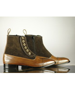 Brown Button top leather and suede boots side zipper ankle boots - $159.97