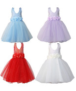 Flower Girl Pageant Dress Girls tutu Dress Blue Red Ivory Lilac 2-6 Years - $16.42