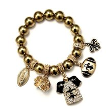 Inspired Silver Shiny Gold Plated Light Weight Football Themed Charms Be... - $590,81 MXN