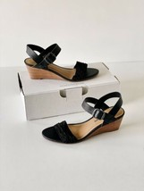 ✨New LUCKY BRAND Jaliena Leather Low Wedge Sandals Black Womens Size 7M  - $40.91