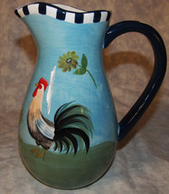 "ROOSTER CHICKEN PITCHER LARGE 9"" TALL BLUE W/ BLACK & WHITE - $17.81"
