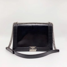 AUTHENTIC CHANEL BLACK LARGE GLAZED BOY FLAP BAG SHW