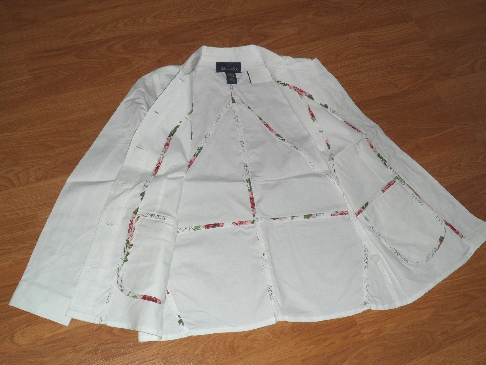 DENIM & CO. SHIRT JACKET/BLAZER SIZE S - M WHITE STRETCH NWT