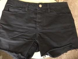 "American Apparel SLIM SLACK BLACK Denim CUT OFF FRINGE Shorts 30 (9.5"" R... - $24.07"