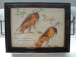 Serving tray, wood frame, Eagle, Beagle, pictur... - $42.70