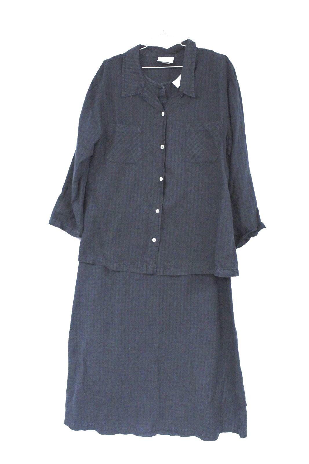 Fresh Produce Tank Maxi Dress & Jacket Blouse Top Black Windowpane Print  M