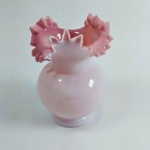 Vintage Fenton Glass Pink & Rose Crest Ruffled Rim Vase  - $27.96