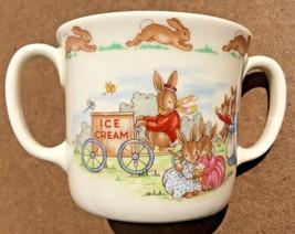 Royal Doulton Bunnykins Ice Cream Vendor two handled mug Fine English Bo... - $12.29