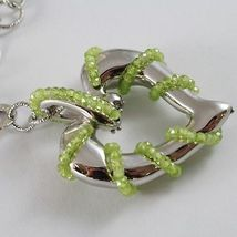 925 STERLING SILVER NECKLACE WITH PERIDOT FINELY WORKED BIG HEART PENDANT, ITALY image 4