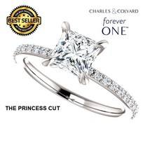 1.25 Carat Forever One DEF Princess Cut Moissanite Ring 14K Gold Charles... - $995.00