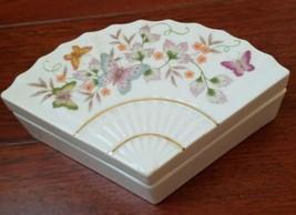 Vintage Avon Ceramic Fan Shaped Trinket Box Butterfly Floral 1980 Porcelain  - $12.19