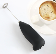 Black Handheld Milk Frother Wand Battery Coffee and Foam Maker Stainless... - $7.34 CAD