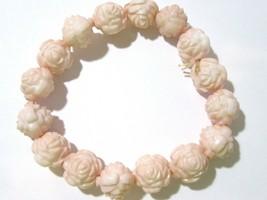 Rose Plastic Stretch Bracelet Pale Pink Vintage Detailed Cute - $12.00
