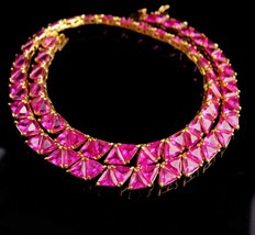 pink statement necklace - 88 PINK Trillions - brilliant cut - gold choke... - $175.00