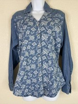 Vtg Wrangler Womens Size M Blue Floral Denim Button Up Shirt Long Sleeve... - $17.82