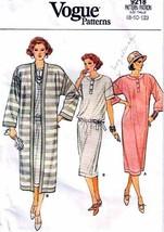 Vintage 1985 Misses' DRESS & COAT Vogue Pattern 9218-v Sizes 8-10-12 - U... - $16.00