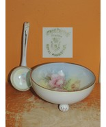 "Hand Painted Royal Rudlostadt Prussia 8.25"" Mayonaise Bowl & Spoon marke... - $12.99"