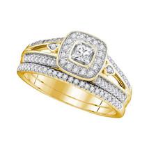 10k Yellow Gold Princess Diamond Bridal Wedding Engagement Ring Band Set 1/2 Ctw - $959.00