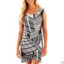Liz Claiborne Black & White Print Cap-Sleeve Faux-Wrap Dress Size PS, PL... - $21.99