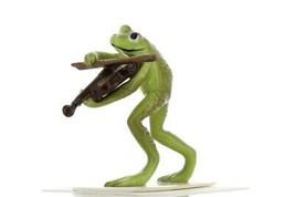 Hagen Renaker Miniature Frog Froggy Mountain Breakdown Fiddle Ceramic Figurine