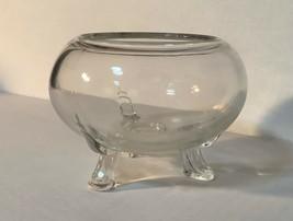Viking Art Glass legged rosebowl, vase, Crystal clear - $24.94