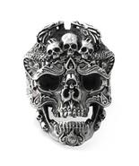 925 Sterling Silver Skull Ring for Men Adjustable Punk Rock Ring Many Skeletons  - $56.88