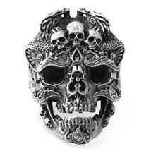 925 Sterling Silver Skull Ring for Men Adjustable Punk Rock Ring Many Sk... - $56.88