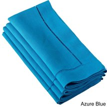 Fennco Styles Hemstitched Dinner Napkin, Set of 4 (azure blue) - $24.74