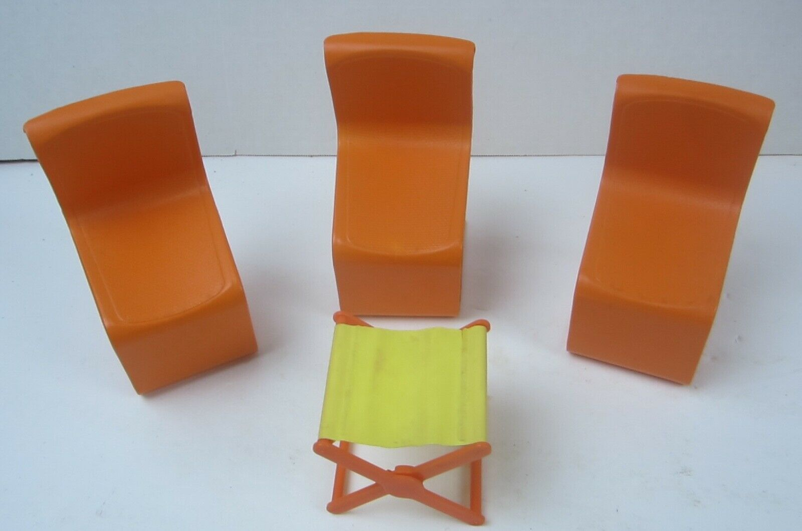 Vintage 1973  Barbie Doll Furniture Town House 3 Chairs and a camp stool - $9.49