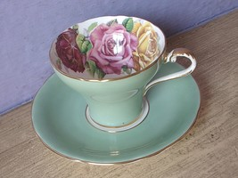 Vintage Aynsley Large pink yellow roses tea cup, Green Bone china teacup image 2