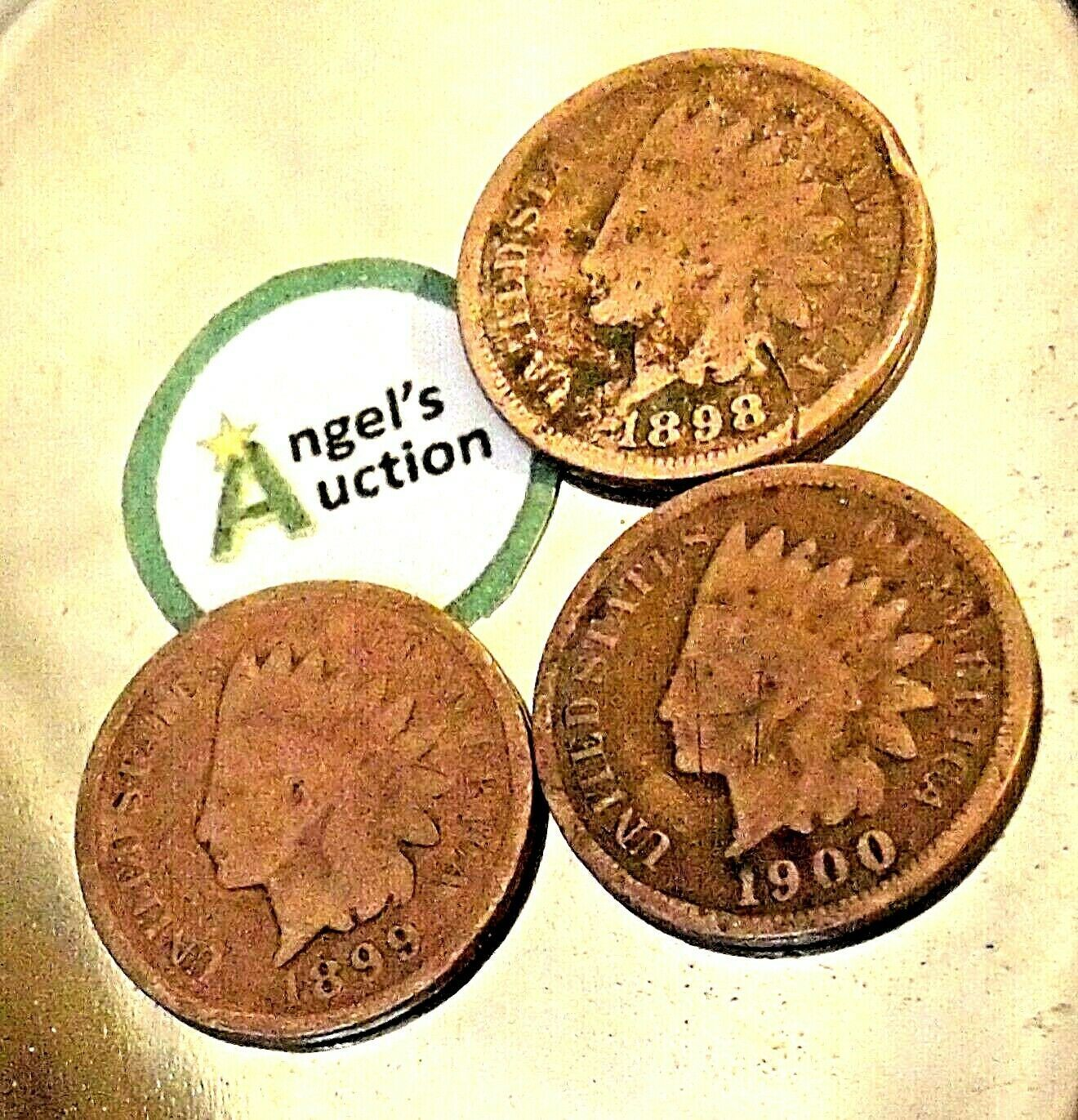 Indian Head Penny 1898, 1899, and 1900  AA20-CNP2133 Antique