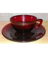 MID CENTURY MODERN 1960'S RETRO- ANCHOR HOCKING ROYAL RUBY CUP AND SAUCER - $9.95