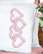 Jack Dempsey Stamped Pillowcases W/White Perle Edge 2/Pkg-Interlocking 3... - $19.46